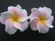 Mini Petals Plumeria Flower Clip Set  White w/ Pink Stripes