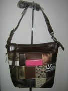 DESIGNER INSPIRED TRENDY  BROWN w/ METALLIC PATCHWORK HANDBAG