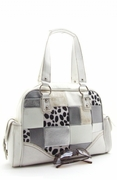 ANIMAL/METALLIC PRINT  PATCHWORK QUILTED TRENDY HANDBAG