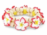Hawaiian Fimo 8 Flower Stretch Elastic Bracelet Red