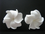 Mini Petals Plumeria Flower Clip Set   Pure White