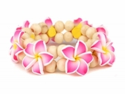 Hawaiian Fimo 8 Flower Stretch Elastic Bracelet Pink
