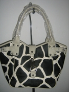 GIRAFFE PRINT TRENDY SHOPPER HANDBAG OFF WHITE