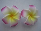"Mini Petals Plumeria Flower Clip Set  White w/ Purple Tips Yellow Center 1.25"" Inch"