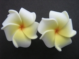 2 pc Mini Petals Plumeria Flower Clip Set  White Yellow Center