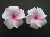 Mini Petals Plumeria Flower Clip Set  White Pink Center