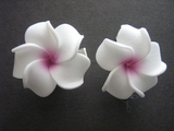 2 pc Mini Petals Plumeria Flower Clip Set - White w/ Pink Hub