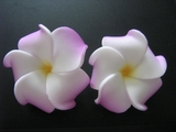 Mini Petals Plumeria Flower Clip Set  Purple