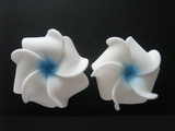 Mini Petals Plumeria Flower Clip Set  White Blue