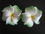 2 pc Mini Petals Plumeria Flower Clip Set  White Green Tips