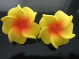 2 pc Mini Petals Plumeria Flower Clip Set  Yellow Red Center