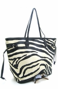 ZEBRA PRINT  SIDE DRAWSTRING SHOPPER