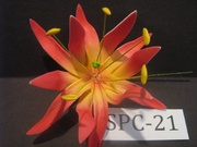 "4.3""  SPIDER LILY DOUBLE Curved PETALS FLOWER PICK-Yellow Center w/ Red Tips"