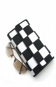 BLACK AND WHITE CHECKERED WEAVE WALLET
