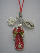 Hawaiian Flip Flop Cell Phone Charm -Red Slipper w/ Colored Stones