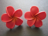 Hawaiian Plumeria Fimo Post Earring Coral Red w/ Yellow Hub X Large