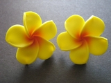 Hawaiian Plumeria Fimo Post Earring Yellow w/ Red Hub X Large