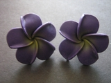 "Hawaiian Plumeria Fimo Post Earring Purple w/ Yellow Hub 1.25"" inch"