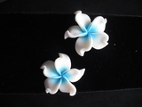 Plumeria Fimo Post Earring White w/ Blue Hub X- Large- Pointed Petals