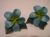 Hawaiian Plumeria Fimo Post Earring w/ Leaves-Blue w/ Yellow Center