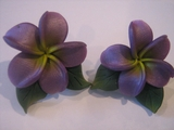 Hawaiian Plumeria Fimo Post Earring w/ Leaves-Purple w/ Yellow Center