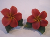 Hawaiian Plumeria Fimo Post Earring w/ Leaves-Red w/ Yellow Center