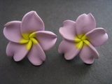 "Hawaiian Plumeria Fimo Post Earring Purple w/ Yellow Center 1"" inch"