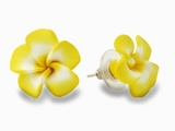 Hawaiian Plumeria Fimo Post Earring Yellow Medium
