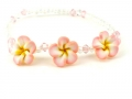 Hawaiian Plumeria Fimo Glass Bead Bracelet/ Anklet Light Pink