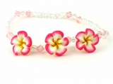 Hawaiian Plumeria Fimo Glass Bead Bracelet/Anklet  Red