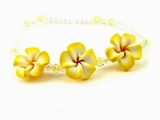 Hawaiian Plumeria Fimo Glass Bead Bracelet/Anklet  Yellow