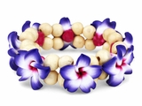 Hawaiian Fimo 8 Flower Stretch Elastic Bracelet Purple