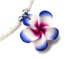 Hawaiian Plumeria Fimo Clam Shell Necklace Purple