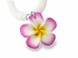 Hawaiian Plumeria Fimo Clam Shell Necklace Pink