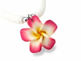 Hawaiian Plumeria Fimo Clam Shell Necklace Red