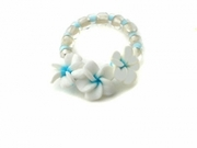 Fimo  Plumeria Flowers Elastic Toe Hawaiian Ring Blue