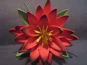 "3.5"" Lotus Flower w/ Lily Pad- Red"