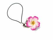 Fimo Plumeria Phone Charm Strap - Pink with Rhinestone