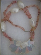 MOTHER OF PEARL SHELL FASHION NECKLACE PINK