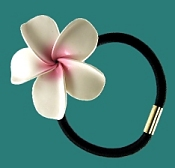 HAWAIIAN PLUMERIA  FIMO FLORAL ELASTIC HAIR BAND