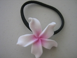 White - Pink Plumeria Pony O Elastic Hair Band