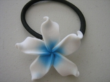 White - Blue Plumeria Pony O Elastic Hair Band