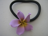 Lilac Plumeria Pony O Elastic Hair Band