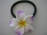 White w/ Lilac & Yellow Center Plumeria Pony O Elastic Hair Band
