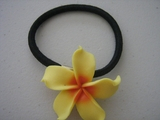 Yellow w/ Red Center Plumeria Pony O Elastic Hair Band
