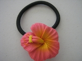 Pink  w/ Yellow Center Hibiscus Pony O Elastic Hair Band