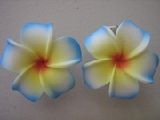 2 pc Mini Pointed Petals Plumeria Flower Hair Clip Set   Blue Yellow Center