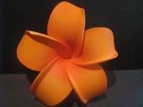4 Inch Pointed Petal Plumeria Flower- Hawaiian Sunrise Orange