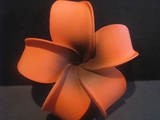 4 Inch Pointed Petal Plumeria Flower- Orange