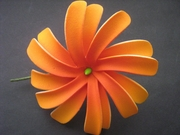 "4"" DOUBLE PETALS TIARE FLOWER HAIR  PICK-Orange"